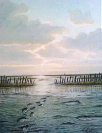 Ölmalerei, Nordsee, Watt, Abendstimmung