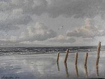 Meer, Stehen, Ostfriesland, Möwe