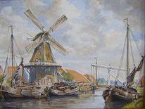 Malerei, Landschaft, Kanal, Mühle