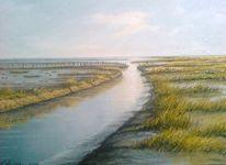 Meer, Nordsee, Ölmalerei, Abendstimmung