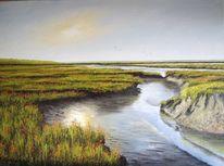Abendstimmung, Ölmalerei, Weite, Landschaft