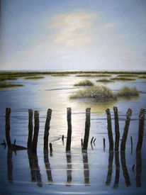 Abendstimmung, Ölmalerei, Ostfriesland, Landschaft