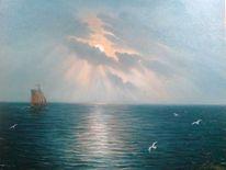 Landschaft, Mond, See, Malerei