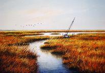 Nordsee, Malerei, Abendstimmung, Watt