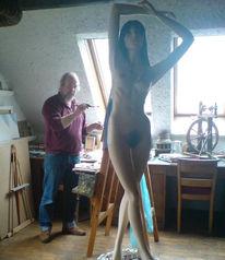 Frau, Akt, Ölmalerei, Pinnwand