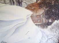 Ostfriesland, Garten, Winter, Schnee