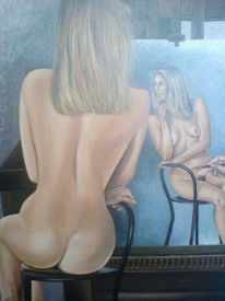 Ölmalerei, Akt, Frau, Malerei