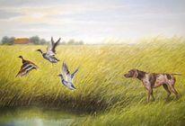 Hund, Ente, Ölmalerei, Jagd