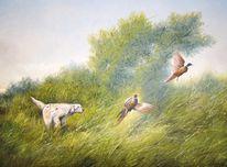Jagd, Malerei, Landschaft, Hund