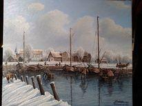 Winter, Schnee, Schiff, Hafen
