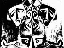 Schwarzweiß, Zwillinge, Doppelt, Linol