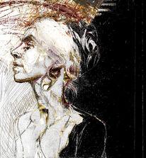 Portrait, Zeichnung, Schwarz, Gedanken