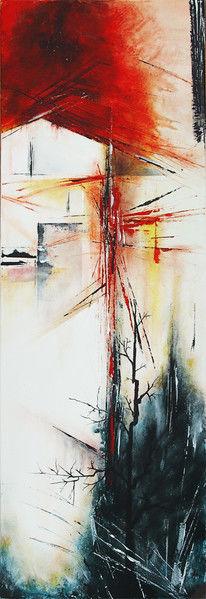 Abstrakt, Rot, Abgrund, Malerei