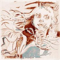 Zeichnung, Surreal, Allein, Fremde