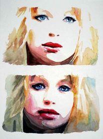 Frau, Aquarellmalerei, Blick, Portrait