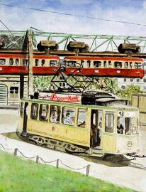 Malerei, Wuppertal, Straßenbahn, Schwebebahn