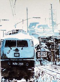 Skizze, Lippen, Malerei, Eisenbahn