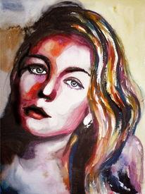 Frau, Blick, Ausdruck, Aquarellmalerei
