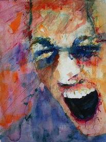 Aquarellmalerei, Wut, Portrait, Ärger