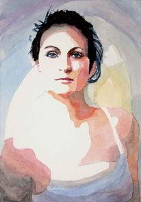 Aquarellmalerei, Portrait, Blick, Frau