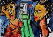Farben, Gesicht, Comic, Expressionismus