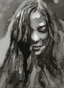 Monochrom, Frau, Grau, Aquarellmalerei