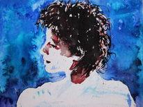 Menschen, Figurativ, Blau, Gesicht