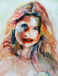 Menschen, Aquarellmalerei, Frau, Blick