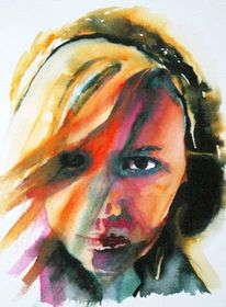 Portrait, Gesicht, Farben, Frau