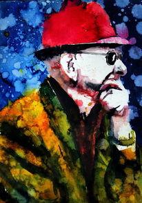 Mann, Farben, Hut, Brille