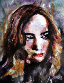 Blick, Ausdruck, Aquarellmalerei, Menschen
