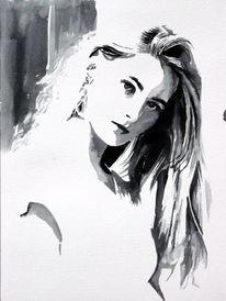 Frau, Monochrom, Gesicht, Figurativ