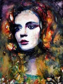 Frau, Gesicht, Blick, Farben