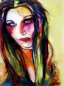 Blick, Haare, Frau, Farben