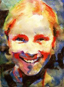 Frau, Freundlich, Aquarellmalerei, Lachen