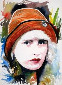 Aquarellmalerei, Portrait, Ausdruck, Frau