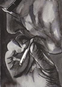 Zigarette, Mann, Hände, Rauchen