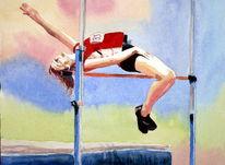 Frau, Sport, Hochsprung, Springen