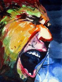 Aquarellmalerei, Mann, Menschen, Angst