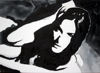 Monochrom, Frau, Schwarz, Gesicht