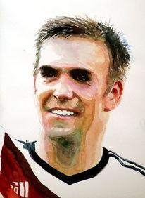 Lahm, Aquarellmalerei, Portrait, Fußball