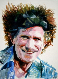 Richards, Stern, Rolling stones, Aquarellmalerei