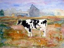 Tiere, Wiese, Aquarellmalerei, Kuh