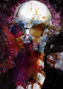 Gesicht, Farben, Expressionismus, Brille