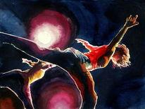Tanz, Aquarellmalerei, Ausdruck, Licht bewegung