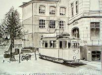 Monochrom, Straßenbahn, Wuppertal, Aquarellmalerei