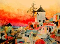 Santorini, Aquarellmalerei, Griechenland, Malerei