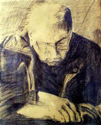 Zeichnung, Alter mann, Bleistiftzeichnung, Grafit