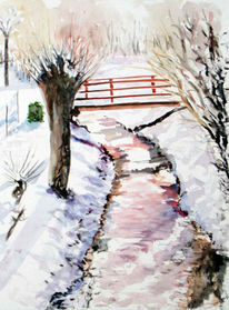 Winter, Bach, Aquarellmalerei, Brücke