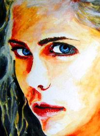 Portrait, Aquarellmalerei, Augen, Malerei